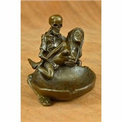 Art Deco Hot Cast Skeleton with Nude Girl Ashtray Coin Key Holder Bronze Statue