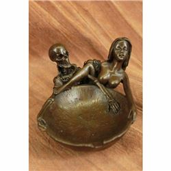 Erotic Art Deco Skeleton With Nymph Ashtray Bronze Sculpture Figurine Figural NR