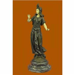 Art Deco Bronze and Faux Bone Turkish Princess Sculpture Brown Marble Base Decor