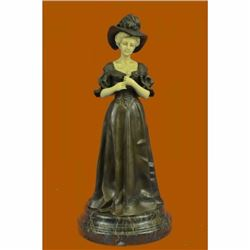 Handcrafted Bronze and IvoryLike Sculpture Victorian Proper Lady Sculpture Decor