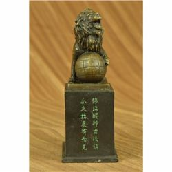 Vintage Casting Lion on Ball Bronze Sculpture Marble Statue Figurine Figure