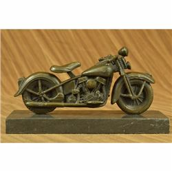 Signed Original Hot Cast Harley Davidson Motorcycle Bronze Sculpture Statue