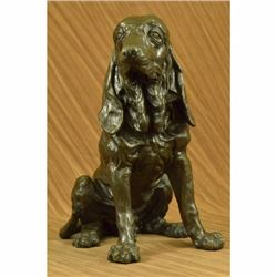 Signed Original Hound Dog Garden Backyard Decor Bronze Sculpture Statue Figurine