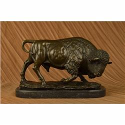 Large American Buffalo Bison Art Deco Sculpture Marble Base Figurine Figure