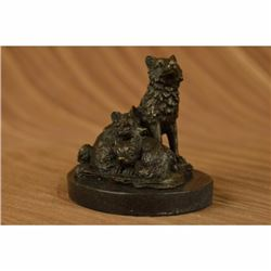 Signed Barye Miniature Wolf Family Bronze Sculpture Marble Base Statue Figurine