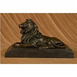 Hot Cast Hand Crafted African Lion Roaring Bronze Sculpture Marble Base Statue