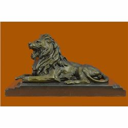 Art Deco Hot Cast by Barye African Lion Bronze Sculpture Marble Base Figurine