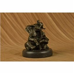 Bronze Sculpture Laughing Mother Elephant With Cub Bronze Sculpture Statue Decor