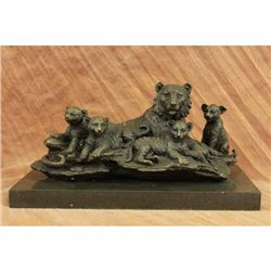 Art Deco Signed Original Williams Tiger with Four Cubs Bronze Sculpture Statue