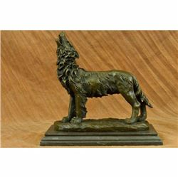 Signed Original Milo Howling Wolf to the Moon Bronze Sculpture Marble Statue Art