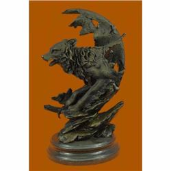Celtic Moon Wolf Hot Cast Bronze Sculpture Marble Base Figurine Statue Figurine
