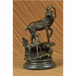 Signed Original Male Stag with his Baby Fawn Bronze Sculpture Marble Base Statue
