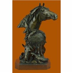 Signed Original Horse Bust Bronze Sculpture Marble Base Figurine Hot Cast Figure