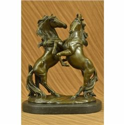 Two Large Wild Stallion Signed Original Art Deco Bronze Sculpture Statue Figure