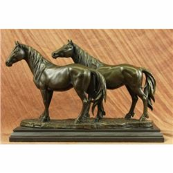 Signed P.J Mene Two Loving Horse Bronze Sculpture Marble Base Statue Figurine NR