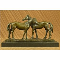 SIGNED ORIGINAL HORSES IN LOVE BRONZE SCULPTURE MARBLE BASE FIGURINE HOME DECOR