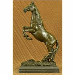 Massive Signed Original Rearing Arabian Horse Wild Bronze Sculpture Statue Decor