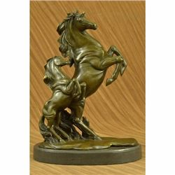 Two Rearing Wild Horses Bronze Sculpture Marble Base Statue by P.J Mene Figurine