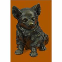 Cute Chihuahua Dog in Hooded Sweater Bronze Sculpture Figurine Statue Hot Cast