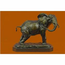 Massive Happy Indian Elephant Sign of Good Luck and Fortune Bronze Sculpture Art