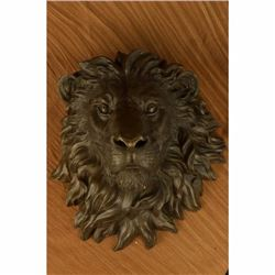 Signed Original Large Wall Mount Lion Head Bust Bronze Sculpture Figurine Figure