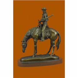 Western Cowboy Bronze Sculpture Horse Large Rodeo Rider FREE SHIPPING New Art