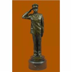 Hand Crafted Police Officer in Uniform Bronze Sculpture Marble Base Statue Deco