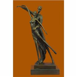 Bronze Sculpture Modern Art Pair of Ballerina Dancers by Aldo Vitaleh Figurine