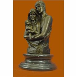 Signed Original a Couple Embracing Their Love child Bronze Sculpture Statue