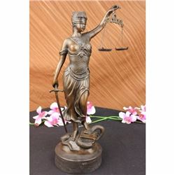 18 Tall BRONZE BLIND JUSTICE LAW MARBLE STATUE LADY SCALE Sculpture Nouveau