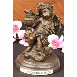 CHERUB ANGEL W/ FLOWERS BRONZE SCULPTURE CANDLE HOLDER MARBLE FIGURINE ART