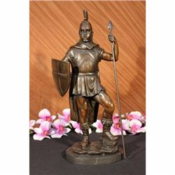SIGNED BRONZE STATUE ROMAN GOD OF WAR WARRIOR MILITARY SCULPTURE ON MARBLE