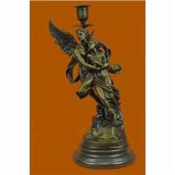 Eros and Psyche Romantic Candle Holder Bronze Sculpture Marble Statue Figurine