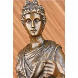 Signed Dalou Gorgeous Roman Maiden Bronze Sculpture Art
