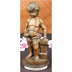 13 Sign Bronze ART Nude The little boy Holding Apple
