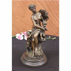 VIENNA BRONZE NUDE LADY W/ BABY BRONZE SCULPTURE FIGURE