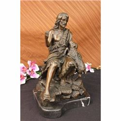 Real Bronze Metal Statue on Marble Christian St. Joseph Jesus  Lamb