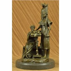 Two Peasant Girls Declaring Their love by Moreau Birds Bronze Sculpture Statue