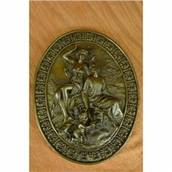 Signed Original Masterpiece Italian Renaissance Relief Wall Bronze Sculpture LRG