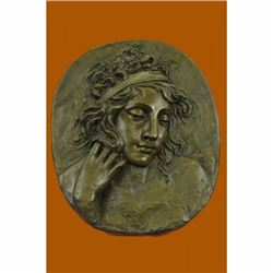 Art Deco/Noveaue Large Woman Face Bas Relief Wall Mount Bronze Sculpture Figure