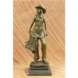 Original Signed Kamiko Hot Cast Cowgirl with Saddle Bronze Sculpture Statue Sale