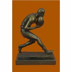 Handcrafted Aussie Rugby Player Bronze Sculpture Marble Base Trophy Figurine Art