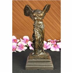 FINE FRENCH 19C GRAND TOUR BRONZE GODDESS OF VICTORY NIKE ON MARBLE BASE