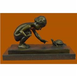Handcrafted Signed Original Aldo Vitaleh Little Girl Playing With Turtle Bronze