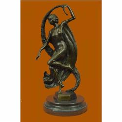 GUIRANDE (JOE DESCOMPS) WOMAN WITH THYRSUS HOT CAST BRONZE SCULPTURE FIGURINE