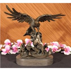 EAGLE ON WAVES REAL 100% BRONZE STATUE/SCULPTURE/FIGURINE FIGURE ART DECO