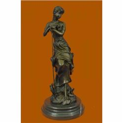 Art Nouveau Sexy Maiden Holding Rose Flower in Garden Bronze Sculpture Statue