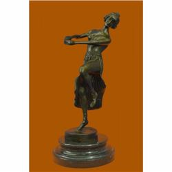 Bronze Sculpture Art Deco Semi Nude Dancer by Eichler Hand Made Statue Figurine