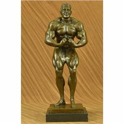Bronze Abstract Muscular Modern Art Nude Man Marble Base Sculpture Statue Signed