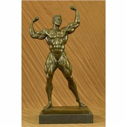 Abstract Bronze Muscle Man Flexing Sculpture Nude Male Fitness Model Muscular